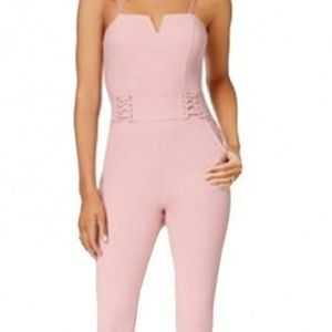 Material Girl Juniors' Lace-Up Fitted Jumpsuit M